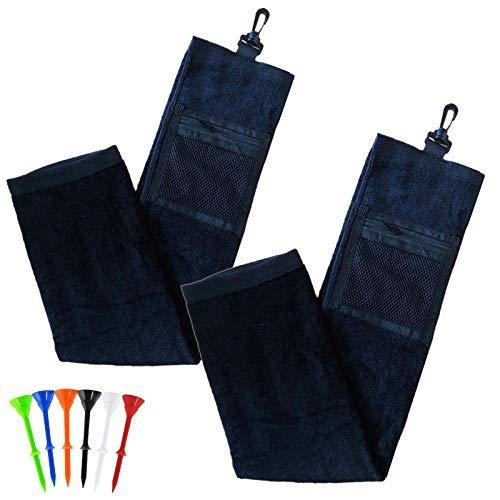 Toallas de golf para bolsas de golf con clip para hombres y mujeres, toalla de limpieza de algodón triple paquete de 2, cuerda de actualización..
