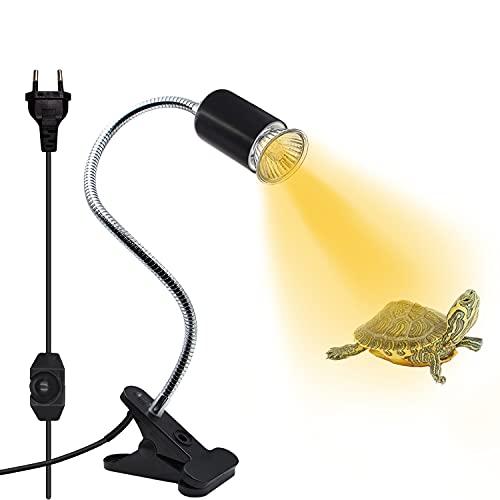 Lámpara de clip calefactable con clip y cable, lámpara calefactora reptil, para bombillas de infrarrojos y luz térmica, giratoria 360 ° (sin bombilla), color negro