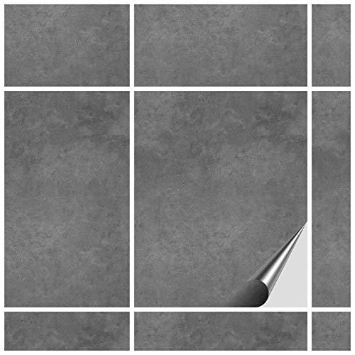 FoLIESEN Fliesenaufkleber 20x25 cm - Fliesen-Folie Bad - Klebefolie Küche - 15 Klebefliesen, Dekor Beton
