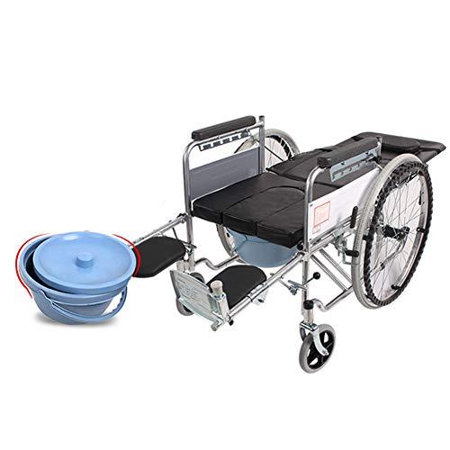 LOO LA Faltrollstuhl Mobiclinic Rollstuhl Sanitätshaus Faltbar Reiserollstuhl Sitzhöhe: 51 cm Vollgummireifen Breite: 64 cm,Leather