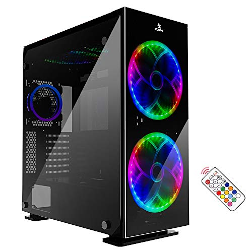 NexiGo Stellar Black ATX Mid-Tower Desktop Computer Gaming Case, Tempered 4-Sided Glass Panels, Pre-Installed 200mm LED RGB Fans with Remote Controller, 360mm Liquid Cooling Support