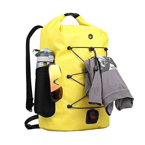 Asvert Bolsa de Deporte Viaje 35L Mochila Impermeable Duffel Bag Resistente al Agua para Deporte Acuático, Camping, Senderismo, Viajes, Gimnasio, Playa, Vela, Natación, Navegación, Surf (Amarillo)