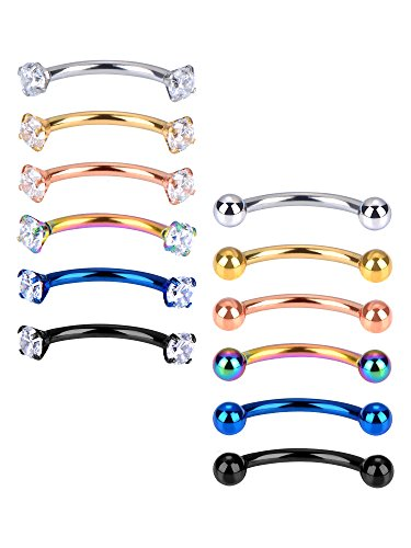 Mudder 12 Pieces 16 Gauge Stainless Steel Belly Lip Ring Eyebrow Studs Cartilage Tragus Cubic Zirconia Barbell Body Piercing, 2 Styles