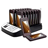 TIVDIO T-113 Wireless 16 Call Coaster Pagers Wireless Paging System with Charging Dock and Transmitter