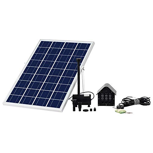 Fister Solar Fountain Water Pump with LED Lights for Hydroponics,Waterfall, Pond Aeration, Aquarium, Aquaculture