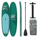 KLAR FIT Klarfit Spreestar - Planche de Paddle Gonflable, Set Sup-Board, 305x10x77 cm, Turquoise
