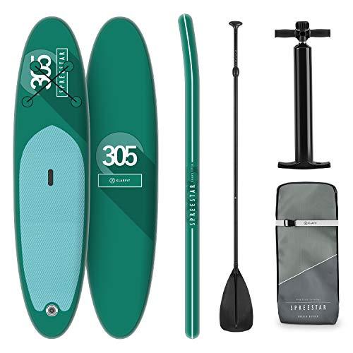 KLAR FIT Stand Up Paddle Board Surf - Spreestar 305x10x77cm, all-Round SUP Gonfiabile, Set Completo: Pagaia + Pompa + Sacca Trasporto + Kit di Riparazione, Color Verde, Tecnologia DropStitch