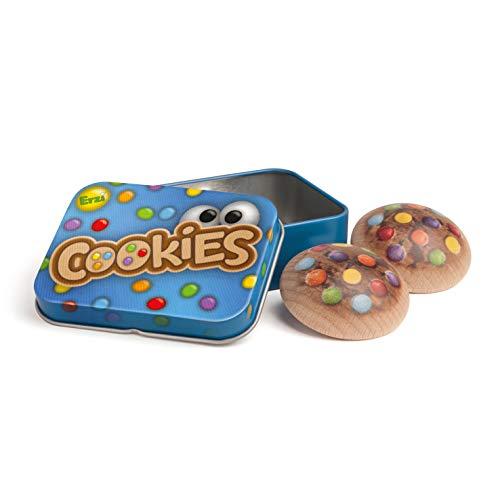 Erzi 13235 Cookies de madera en lata, artículo de tienda para niños, juego de rol