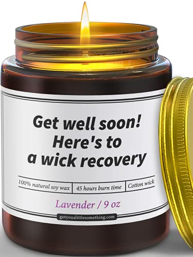 Funny Get Well Gifts for Women and Men   9 oz Lavender Scented Soy Candle   Feel Better Soon Gift, Thinking of you Present ,Post Surgery, Recovery, Rehabilitation, Rehab Gift, Unique Care Package Idea