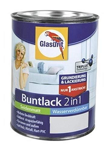 Glasurit Buntlack 2in1 Seidenmatt Wasserverdünnbar 500ml (RAL 3000 Feuerrot)