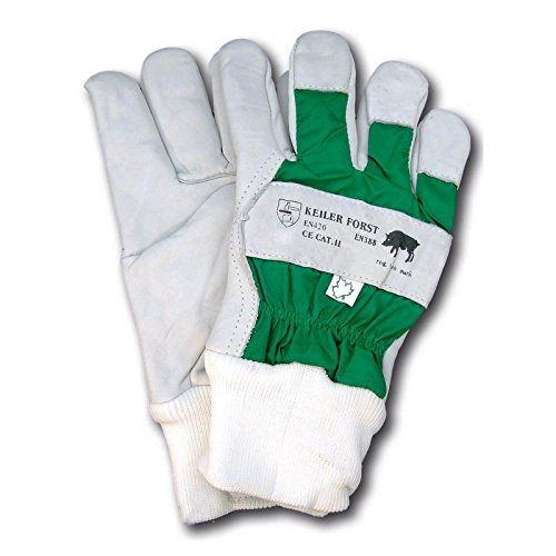 Keiler Forsthandschuh 16060 aus Rindnarbenleder, verstärkte Finger, komplett gefüttert, wasserdichter Handrücken, EN 388, EN 420, 1 Paar, Weiß/Grün (9)