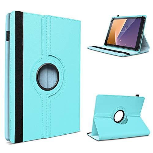 UC-Express Tablet Hülle kompatibel für Vodafone Tab Prime 6/7 Schutzhülle aus Kunstleder Tasche mit Standfunktion 360° drehbar Universal Cover Hülle, Farben:Türkis