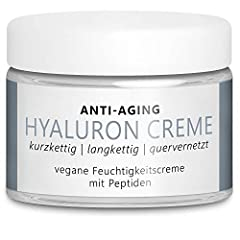 TESTSIEGER 2020* Vegan Anti-Aging Hyaluron Cream 50 ml met 3 hyaluronzuren met hoge dosis (cross-linked, low-molecular, high molecular weight) en peptiden voor gezicht, hals en decolleté – Made in Germany*