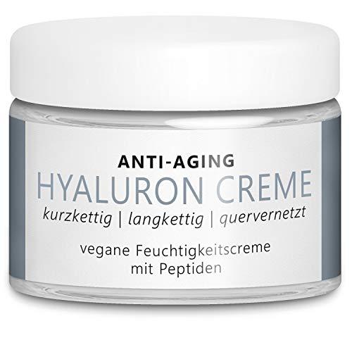 TESTSIEGER 2020: Vegane Anti-Aging Hyaluron Creme 50 ml mit 3 hochdosierten Hyaluronsäuren (quervernetzt, nieder-, hochmolekular) und Peptiden für Gesicht, Hals und Dekolleté – Made in Germany