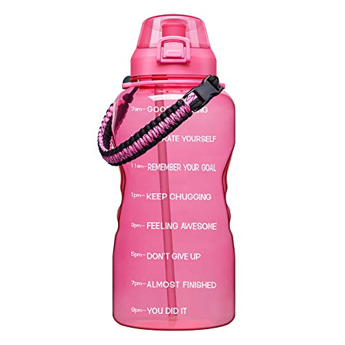 Giotto Large 1 Gallon Motivational Water Bottle with Paracord Handle & Removable Straw - Leakproof Tritan BPA Free Fitness Sports Water Jug with Time Marker-1G-Pink