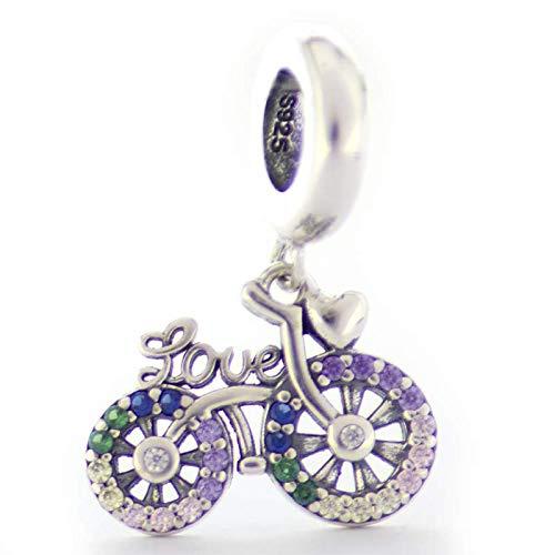 EVM Charm – Bicicleta & Amor compatibles con pulsera Pandora, plata de ley 925, regalo para ella, con caja de regalo, circonita cúbica, regalo para mujer