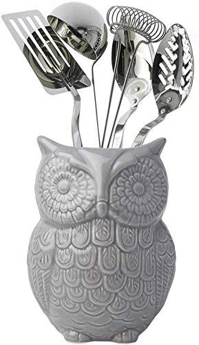 Comfify Eulen Utensilienhalter - Dekorativer Keramik Kochgeschirrhalter & Organizer - in schönem Grau - Utensilien Caddy und perfektes Küchenkeramikdekor Geschenk - 12.7cm x 17.8cm x 10.2cm Größe