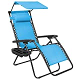 Best Choice Products Folding Zero Gravity Outdoor Recliner Patio Lounge Chair w/Adjustable Canopy Shade, Headrest, Side...