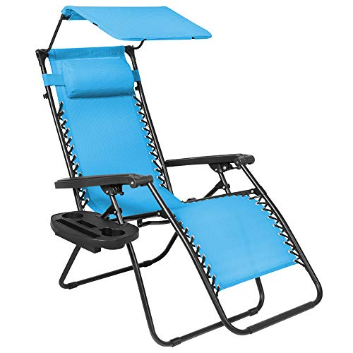 Best Choice Products Folding Zero Gravity Outdoor Recliner Patio Lounge Chair w/Adjustable Canopy Shade, Headrest, Side Accessory Tray, Textilene Mesh - Light Blue