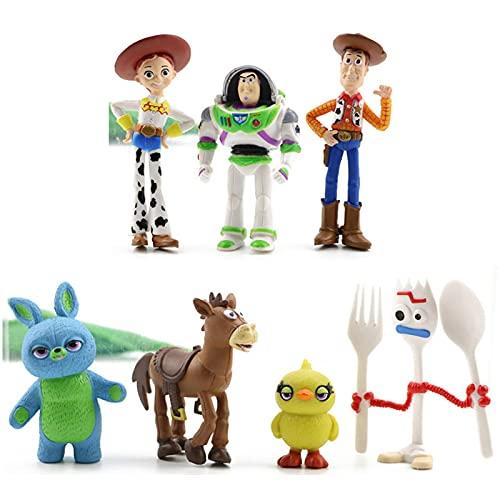 7 Pcs Anime Toy Story 4 Doll Toy Woody Jessie Bass Lightyear Fork Pig Bear Doll Model Doll Doll Children's Gift 4-7Cm