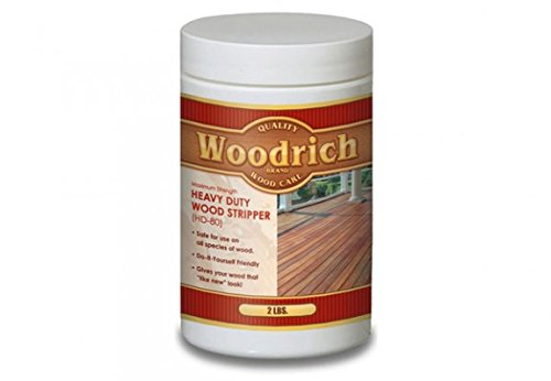 Heavy Duty Wood Stripper & Wood Cleaner for Wood Decks, Wood Fences, Wood Siding, and Log Cabins - HD80 - Woodrich Brand - Moss, Mold, Mildew, Sealer & Stain Remover - Covers up to 750 Square Feet