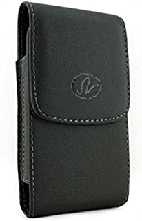 Black Leather Side Case Cover Pouch Belt Holster Clip for Alcatel Jitterbug Smart - BLU Vivo 5R - Dell Streak