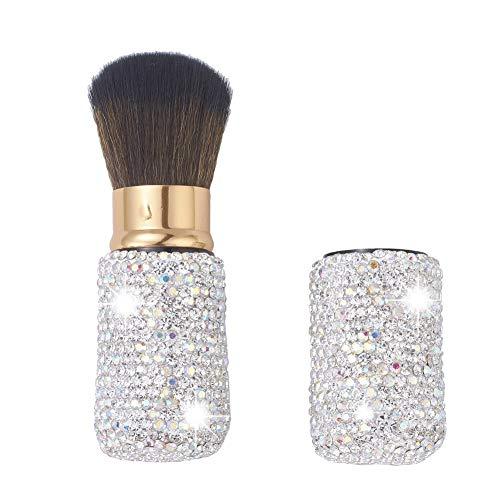 XhuangTech Bling Make Up Brush Crystal Makeup Travel Brushes Blusher Rhinestone Cover Foundation Highlight Blush Cosmetic Tools (White)