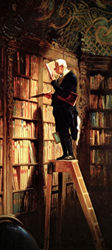 Türtapete selbstklebend - Carl Spitzweg - Der Bücherwurm 90x200 cm - einteilig Türaufkleber Türfolie Türposter - Maler Alte Meister Kunstwerk Biedermeier