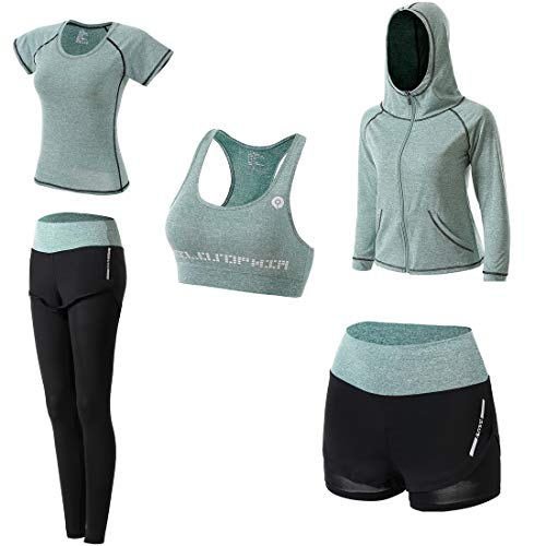 JULY'S SONG Workout Outfit Set for Women Yoga Exercise Cloth with Sport Bra Shorts Leggings(Green, M)
