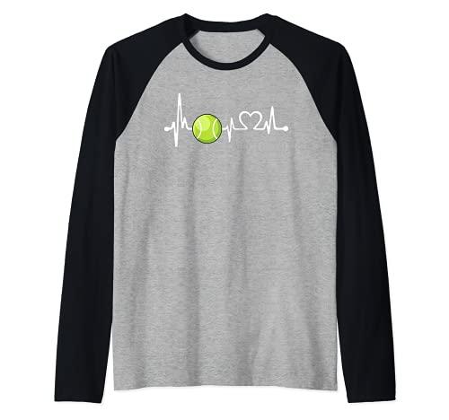Divertido regalo de entrenador de tenis y jugador | Love Tennis Heartbeat Camiseta Manga Raglan