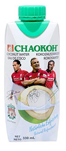 Chaokoh 100% natürliches Kokosnusswasser 12 x 330ml Liverpool Edition, pur und erfrischend, als Sportgetränk oder Durstlöscher, ohne Zuckerzusatz, vegan