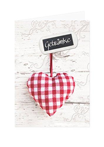 10 stuks rood-wit geruit hart drankkaarten, barkaarten, hout-look, lege beschrijfbare vouwkaarten, blanco A4 formaat voor de printer en A5 staand geklapt tafeldecoratie voor verschillende feesten