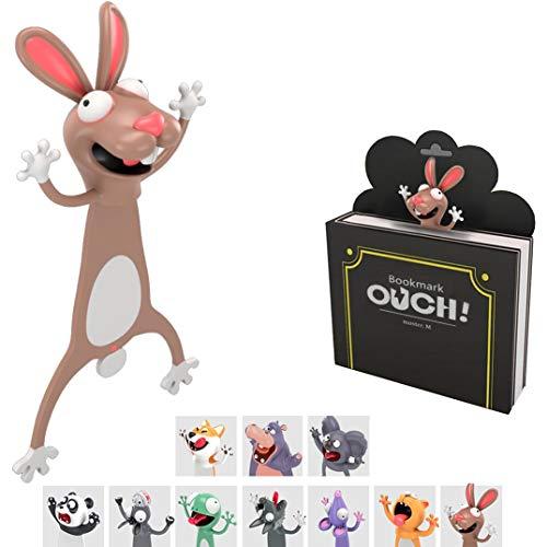 KXT Witzige 3D Cartoon Tier-Lesezeichen - Lustiges Geschenk für Kinder und Erwachsene (Hase)