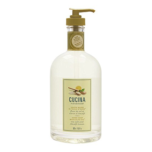 Fruits & Passion [Cucina] - Sea Salt and Amalfi Lemon Hand Soap, Kitchen Liquid Hand Soap, Vegan-Friendly, Natural Moisturizing Hand Wash in Glass Hand Soap Dispenser (16.9 fl oz)