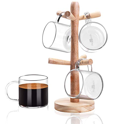 Aquach Coffee Glass Mugs Set of 4, 12 oz, Including Wooden Cup Holder Tree, 6 Hooks