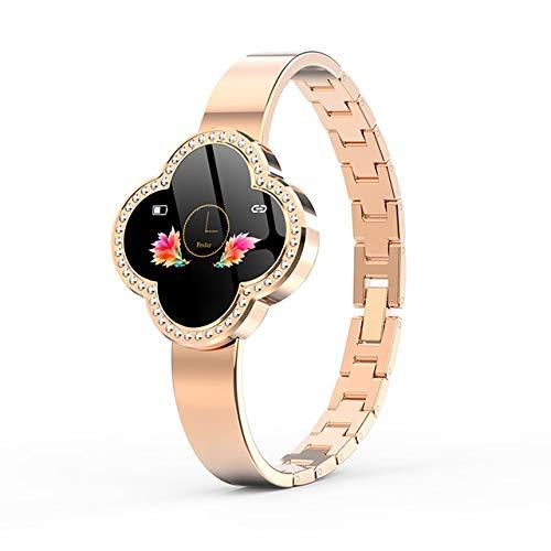 CWGWNXGY Fashion Smart Fitness Armband Dames Bloeddruk Hartslag Monitoring Polsband Dames Horloge Gift, A, Goud