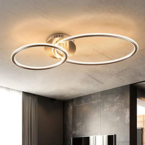 ZMH LED Deckenlampe Wohnzimmer Deckenleuchte Modern Ringe Design Warmweiß Licht 3000K Schlafzimmerlampe 29W aus Eisen und Aluminium 62.5cm Länge Bürolampe Küchenlampe Flurlampe