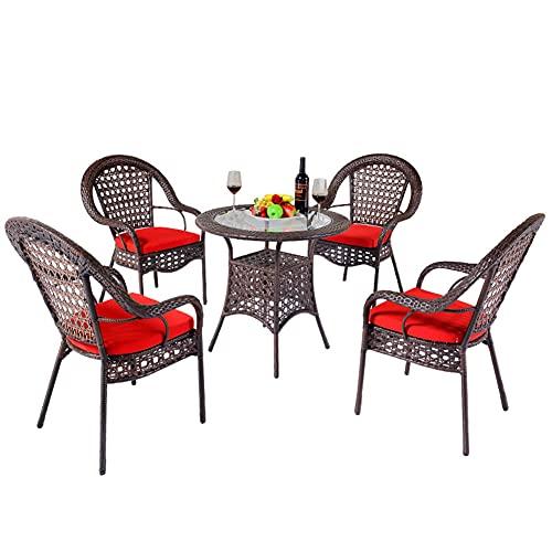 Juegos de Muebles de Patio al Aire Libre, 5 Piezas Juego de combinación de sillas de Mimbre para balcón de Ocio Incluye 4 sillas y 1 Mesa de café Muebles de conversación de jardín para Todo Clima