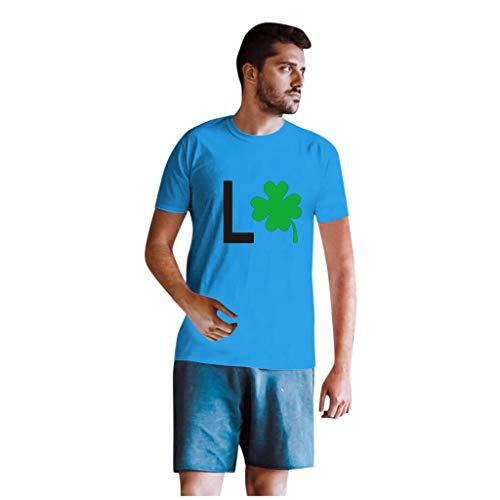 Dasongff T-shirt Klee Partner Look Paar T-shirt St. Patricks Day korte mouwen kostuum basic casual thee bovenstuk top blouses Small blauw/heren.