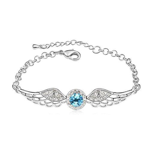 Bright Shining Pulsera de Cristal Brillante con alas de ángel y Diamantes para Regalo del día de San Valentín (Aguamarina)
