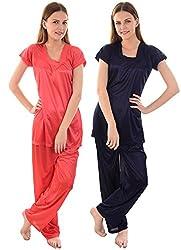 Senslife Women Solid Satin Nightwear Combo Set of Night Suit (Pack of 2)