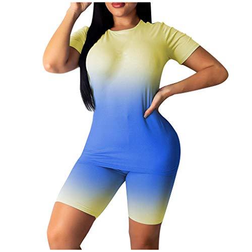 Dnliuw Frauen Tie-Dye Schlanke Sportbekleidung, Oberteile + Hose Mit Hoher Taille, Kurzarm-Sportanzug Mit Rundem Hals, Lässiges Yoga Fitness Set