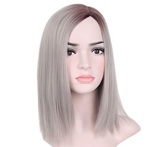 Pruik Dames korte pruik synthetische steil haar gouden roze grijze haren Naturally realistisch pruik (Color : B)