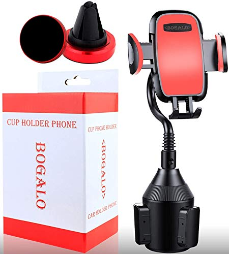 Cup Phone Holder - Smart Phone Car Mount and Air Vent Holder in Red for All Phones,Android Phone Compatible - Adjustable Base 360 - Degree Rotation - Goose Neck - Stand Strap Easy Installment BOGALO