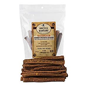 BRUTUS & BARNABY Sweet Potato Dog Treats - Grain Free, Cinnamon Pumpkin Crunchy Sticks are Great Tasting, Promote Positive Dog Gut Health with Natural Anti-Diarrhea Properties, no Preservatives Added