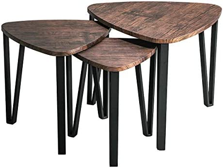 Best Industrial Nesting-Tables Living Room Coffee Table Sets of 3 Stacking End Side Tables Nightstands Vi