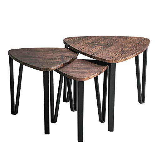 Industrial Nesting-Tables Living Room Coffee Table Sets of 3 Stacking End Side Tables Nightstands Vintage Night Tables for Bedroom Home Office Telepho