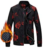 EMAOR Mens Men's Jacket, Floral Print Winter Outdoor Quilted Cotton Padded Bomber Jacket Windbreaker Coat Outerwear for Men, 7#Padded, US Large/42 = Tag 3XL