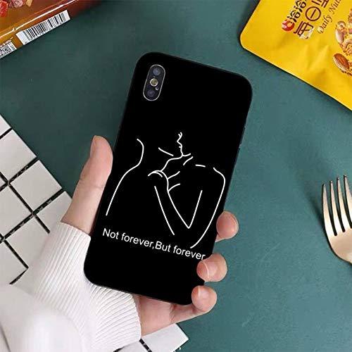 FYMIJJ Funda de teléfono de Pareja Sexy de línea Minimalista para iPhone 11 12 Pro XS MAX 8 7 6 6S Plus X 5S SE 2020 XR, A16, para 7 Plus u 8 Plus