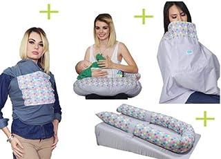 Fular, Colchón Antireflujo, Almohada de Lactancia y Mandil para amamantar Mami Ama Bebé Confeti